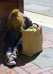 Life On The Street (swong95765) Tags: streets sleep woman homeless sidewalk destitute crashed