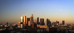 Panoramic of Downtown Los Angeles (dyghajarmedhi) Tags: cityscape dodgersstadium downtownlosangeles goldenlight la losangeles moon panorama smog sunset
