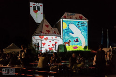 Aschheim leuchtet - schtzt die Tiere (genelabo) Tags: 29 plusplus green city landkreis mnchen projektionskampagne projection visuals klimaschutz strasenfest outdoor genelabo colourfull bunt st peter und paul umwelttag kirche aschheim night madmapper leuchtet church video mapping