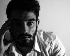 Self #2 (alessiocantara) Tags: portrait self man white shirt portraits black blackandwhite light indoor