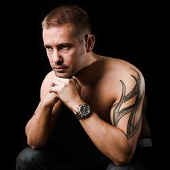 Thinking (okiaer) Tags: portrait tattoo watch thinking speedlight nikond600 sb900 sb700
