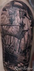 black-and-grey-ship-tattoo-146x300