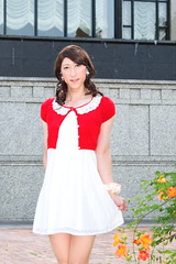 day238-02 red mini cardigan & white race onepiece (Yumiko Misaki) Tags: red white race mini crossdressing transgender transvestite crossdresser cardigan day232 day238 day239 transsexsual lodispotto opepiece