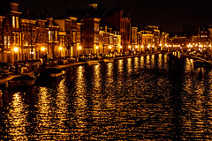 Canals at Night (Joeri Kemp) Tags: houses holland netherlands night river dark boats lights canal leiden darkness lampposts 12oclock colorsinourworld coloursinourworld