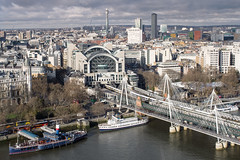 Charing Cross Station (Darren Pettit) Tags: road uk greatbritain bridge winter red england cold detail london wet water beautiful yellow thames night clouds boats pier boat google europe unitedkingdom londoneye stormy tourists 7d gb handheld bttower southeast charingcrossbridge westend hdr highdynamicrange westlondon southwarkbridge charingcrossstation photomatix niksoftware lightroom4 32bithdr