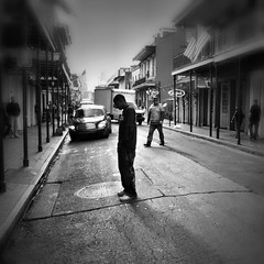silent suffering.... (Louie Selzer) Tags: neworleans streetphotography bourbonstreet