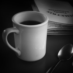 Coffee fix (Photofidelity) Tags: blackandwhite coffee diner 66 squareformat mug buffalony digitalholga holgalens 500px meghanherald olympusomdem5