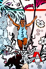 Luck Be a Lady (Thomas Hawk) Tags: usa graffiti stencil mural panda unitedstates florida miami unitedstatesofamerica aiko wynwood ladyaiko wynwoodwalls thewynwoodwalls