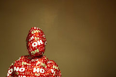 Day 353 (Michael Rozycki) Tags: christmas red portrait green yellow self canon project wrapping paper festive personal head wrap gift 7d present torso merry ho parcel package 1755