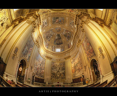 Sant'Andrea della Valle, Rome, Italy (II) :: HDR (Artie | Photography :: I'm a lazy boy :)) Tags: italy rome church architecture photoshop canon cathedral basilica decoration engineering structure symmetry fisheye dome handheld marble baroque fresco 15mm f28 ef hdr artie santeustachio cs3 santandrea 1650 3xp photomatix santandreadellavalle tonemapping tonemap 5dmarkii 5dm2