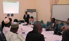 Mr Innocent Okuku of Notore Fertiliser making a presentation at the workshop