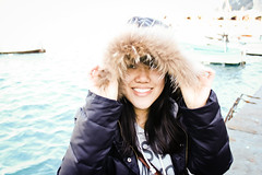 Unseen (☁ rachelloooow) Tags: winter italy cold girl smile canon capri chinese jacket shield 500d