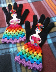 Crochet Gloves - The Upcycled Rainbow Fairy Princess (babukatorium) Tags: pink blue red orange black color green art wool fashion yellow woodland circle rainbow colorful warm dress purple princess recycled handmade turquoise teal oneofakind crochet moda violet style fairy gloves button daisy romantic hippie psychedelic applique arcobaleno tulle remake embellished bohemian multicolor striped whimsical renew darkblue armwarmers mitts accessory sequin haken hkeln emeraldgreen croch grannysquares ganchillo babypink royalblue upcycled uncinetto yarnhair handdecorated woolhair  tii horgolt uvgreen babukatorium