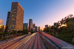 Light Trails and Cityscapes (Michael Bandy) Tags: california city longexposure color losangeles nikon cityscape socal lighttrails downtownla 1020mm dtla losangelesskyline cityskyline downtownlosangeles 10mm losangelescounty d80 nikond80