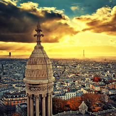 The 3 towers ( David.Keochkerian ) Tags: city light sunset sky cloud sun paris france color building tower mood cityscape atmosphere montmartre sacrcoeur montparnasse effeil