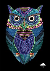 Michael the Magical Owl (Mulga The Artist) Tags: owl greathornedowl hornedowl owleyes owlpainting nightowl owldrawing mulga colourfulowl owlartwork mulgatheartist colorfulowl michaelthemagicalowl