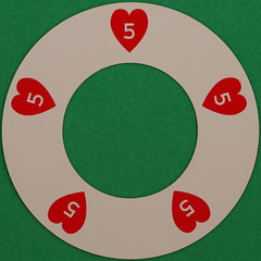 Round Playing Card with Hole 5 of Hearts (Leo Reynolds) Tags: playing game canon eos iso100 deck card squaredcircle 60mm f80 playingcard carddeck 004sec 40d hpexif 066ev xleol30x sqset088