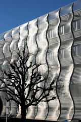 ecal - art college (overthemoon) Tags: blue winter sky building tree architecture silver schweiz switzerland shiny suisse mesh slinky svizzera wavy faade silky shimmer artcollege vaud ecal renens romandie bernardtschumi bestofr