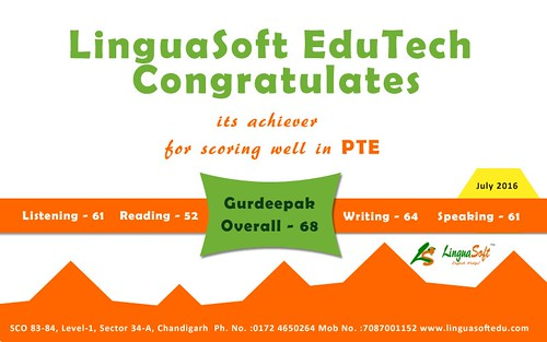 Gurdeepak Overall PTE Score 68