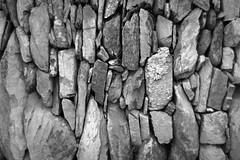 Dry Stone Wall 3/5 (rees_wj) Tags: blackandwhite texture architecture sony a6000 tamron bnw rock monochrome stonework rocks abstract pattern ireland 2870mm