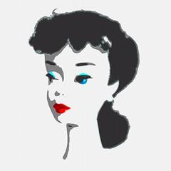 Feeling Jealous (DeanReen) Tags: vintage mod barbie convention andy warhol digital edit image ponytail 3 1959 1960 brunette white background cartoon illustration face head bust red lips
