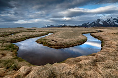 Mirror Bend (Danil) Tags: lofoten daniel bosma mirror bend flow water stream gentle reflection sky mountain norway fredvang island archipel landscape nature grasses snow cloudscape