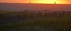 Sun Haze (chantsign) Tags: fence beach grass dunes horizon walking people sunlight sunrise haze