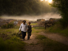 the key (iwona_podlasinska) Tags: key iwona podlasinska children boys brothers road mist sunset magical childhood throughherlens