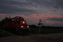 10mph Sunset (MILW157) Tags: g67 hubbleton watertown waterloo spur michaels pit gp20eco highway q 10 mph sunset jointed rail cp railroad canadian pacific emd geep