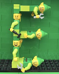 E (Laurene J.) Tags: lego bricksbythebay bbtb2016 minifigurealphabet minifigure minifigs legoalphabet alphabet pilobolusalphabet pilobolus lettering bbtb 2016 bricksofcharacter elf