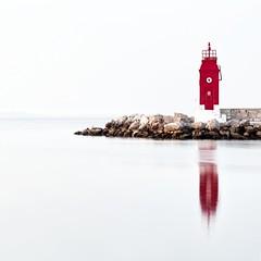 0382 High Key Lighthouse (Hrvoje Simich - gaZZda) Tags: lighthouse red water sea sky highkey rocks croatia krk reflections nikon nikond750 nikkor283003556 gazzda hrvojesimich