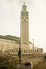Kat on the boardwalk beyond the Hassan II Mosque, Casablanca (Jonmikel & Kat-YSNP) Tags: casablanca morocco march 2007