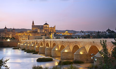 View of Roman Bridge and Mosque-Cathedral (Manolo_Moreno) Tags: mosque mezquita roman bridge river crdoba spain sunset puente romano cityscape