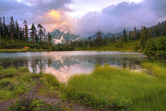 Picture Lake (Meleah Reardon) Tags: picture lake north cascades national park mount baker washington pacific northwest seattle mountains sunset sunrise landscape reflection orange sky clouds serene adventure hiking trails