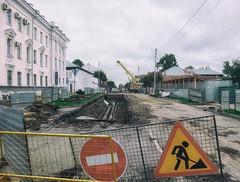 Road closed (andrey.senov) Tags: russia kostroma province street city cloudy morning autumn fall september road repair asphalt             fujifilm fuji x10 fujifilmx10 10faves