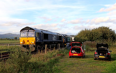 "66427 + 57301 ""Goliath"" - Kirkby-in-Furness - in explore (Andrew Edkins) Tags: bodysnatcher carpark flickr image photo petrol diesel hothatch gm explore 66421 class66 shed drs nuclearflask kirkbyinfurness class57 57301 goliath bmw125dmsport golfgti cars people railwaystation railwayphotography doubleheader zombies locomotive geotagged england uk cumbriancoast cumbria autumn september travel nukes landscape canon"