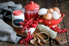 Baking with red currant... (The Little Squirrel) Tags: red food photography baking spoon ingredients eggs cocoa currant foodphotography nikond700