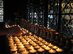 Lighting Candles in McLeod Ganj