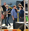 Niall Horan and Harry Styles One Direction seen having lunch and exchange gifts outside the CBS Studios, before the taping of the 'X Factor' finale. Los Angeles, California- 20.12.12 JP
