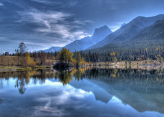 Reflections at Quarry Lake (njchow82) Tags: lake canada mountains reflection landscape scenic peaceful tranquility alberta sensational canmore hdr lumen quarrylake inspiredbylove tonemapping photomatrix nancychow canonpowershotsx30is