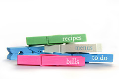 Got it Pegged! (sminky_pinky100 (In and Out)) Tags: pink blue stilllife white green menus bills unique whitebackground todo highkey recipes pegs messages onwhite omot colourfulpegs
