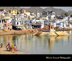 Pushkar Ghats (Olivier Simard Photographie) Tags: city india lake water temple eau lotus prayer pray lac bleu pushkar saree sari ville cygne rajasthan brahma inde candidshot ghat purification ablutions hindouisme prire puret dvotion ajmerdistrict devangar   mygearandme trimrti oliviersimardphotographie