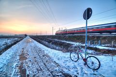 Train, bike and frosty sunset (Claudio Morlok) Tags: winter sunset italy snow cold bike train landscape nikon tramonto dusk wide frosty tokina neve inverno lombardia treno freddo hdr paesaggio d90 arluno photomatix 1116 1exp morlok claudiomorlok