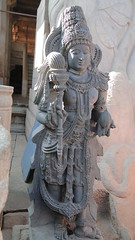 Shravanbelagola - Yakshini at the feet of Bahubali
