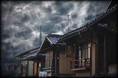 might (LPstyle) Tags: old trip travel sky cloud holiday storm tourism window rain sign japan ancient kyoto wind pov antica roofs lightning tempest kansai giappone hdr citta immagine ricordo suggestivo blindss