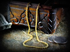 Treasure! (NikonGirl1969) Tags: wood stilllife money gold necklace treasure coins lightbox goldnecklace nikond3100