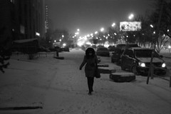 Going home (explored on 2013-01-23) (Nekr0n) Tags: street winter blackandwhite bw snow film vintage evening blackwhite russia moscow grain streetphotography rangefinder ishootfilm nostalgia ilford ilforddelta400 filmgrain jupiter8  zorky ilforddelta analoge primelens zorky4  8 4