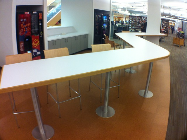 The new Marketplace section of the Arlington Heights Memorial Library features a coffee bar.