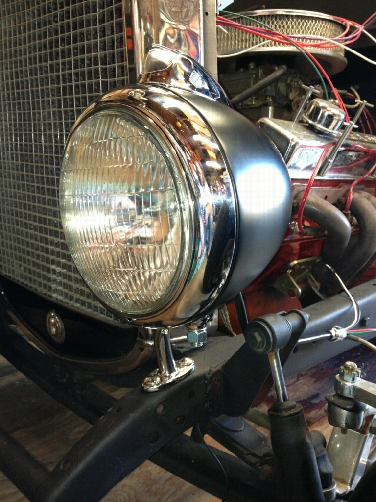 new headlights wired and installed (hot rod ron) tags: ford modela wiring  headlights