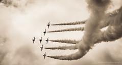 Red Arrows (markhortonphotography) Tags: red rain weather plane canon display diesel aviation smoke formation airshow farnborough redarrows eos7d fia12 farn12
